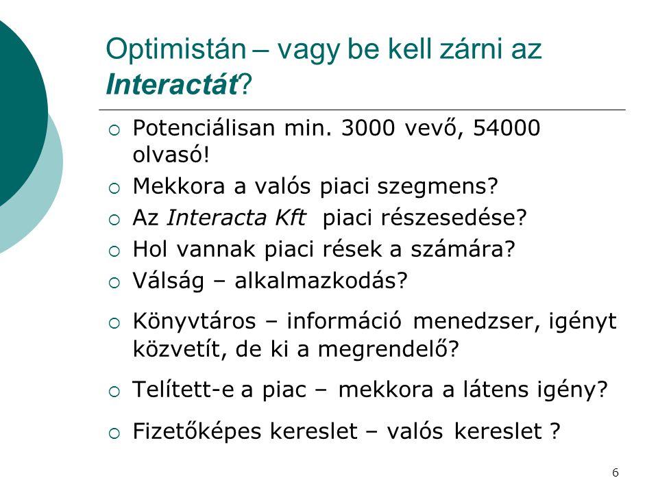 6 Optimistán – vagy be kell zárni az Interactát?  Potenciálisan min. 3000 vevő, 54000 olvasó!  Mekkora a valós piaci szegmens?  Az Interacta Kft pi