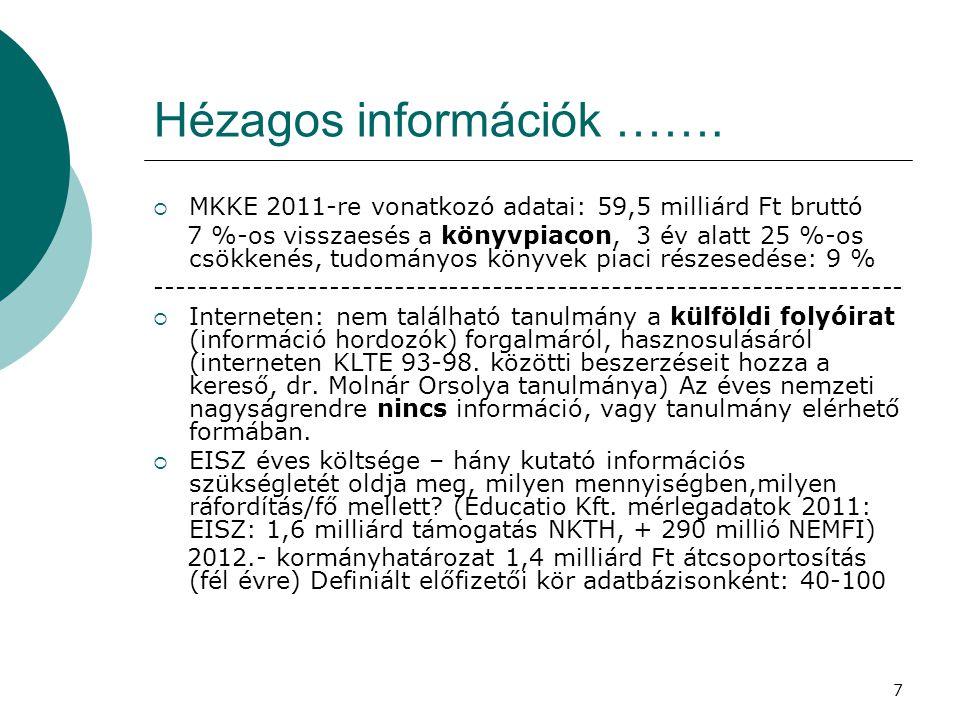 7 Hézagos információk …….  MKKE 2011-re vonatkozó adatai: 59,5 milliárd Ft bruttó 7 %-os visszaesés a könyvpiacon, 3 év alatt 25 %-os csökkenés, tudo