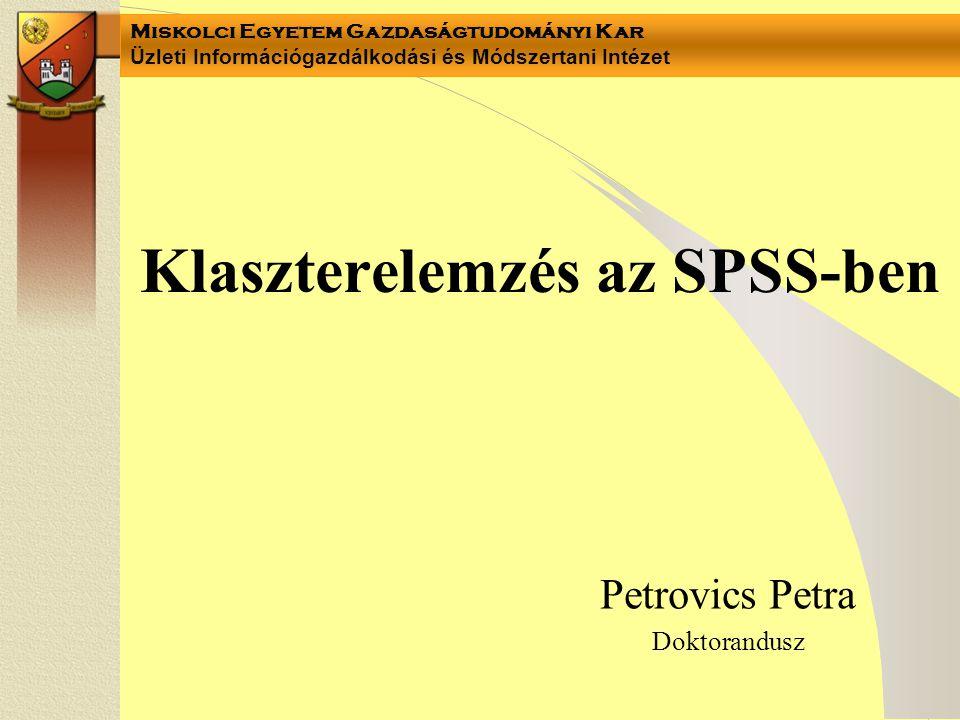 Miskolci Egyetem Gazdaságtudományi Kar Üzleti Információgazdálkodási és Módszertani Intézet Klaszterelemzés az SPSS-ben Petrovics Petra Doktorandusz