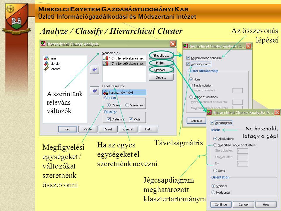 Miskolci Egyetem Gazdaságtudományi Kar Üzleti Információgazdálkodási és Módszertani Intézet Analyze / Classify / Hierarchical Cluster A szerintünk rel