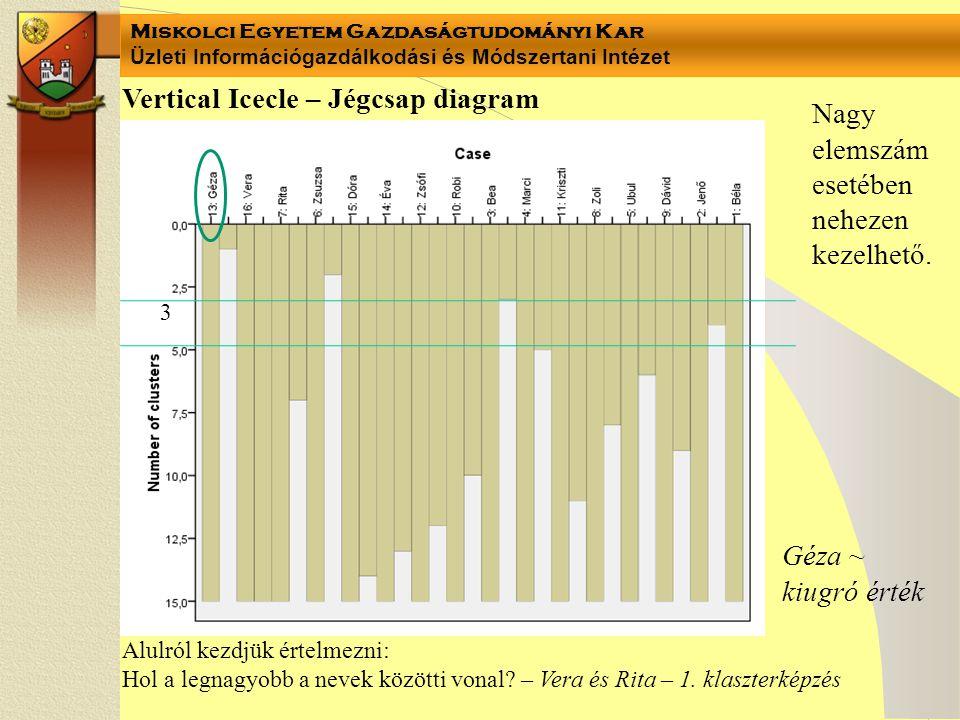 Miskolci Egyetem Gazdaságtudományi Kar Üzleti Információgazdálkodási és Módszertani Intézet Vertical Icecle – Jégcsap diagram Alulról kezdjük értelmezni: Hol a legnagyobb a nevek közötti vonal.