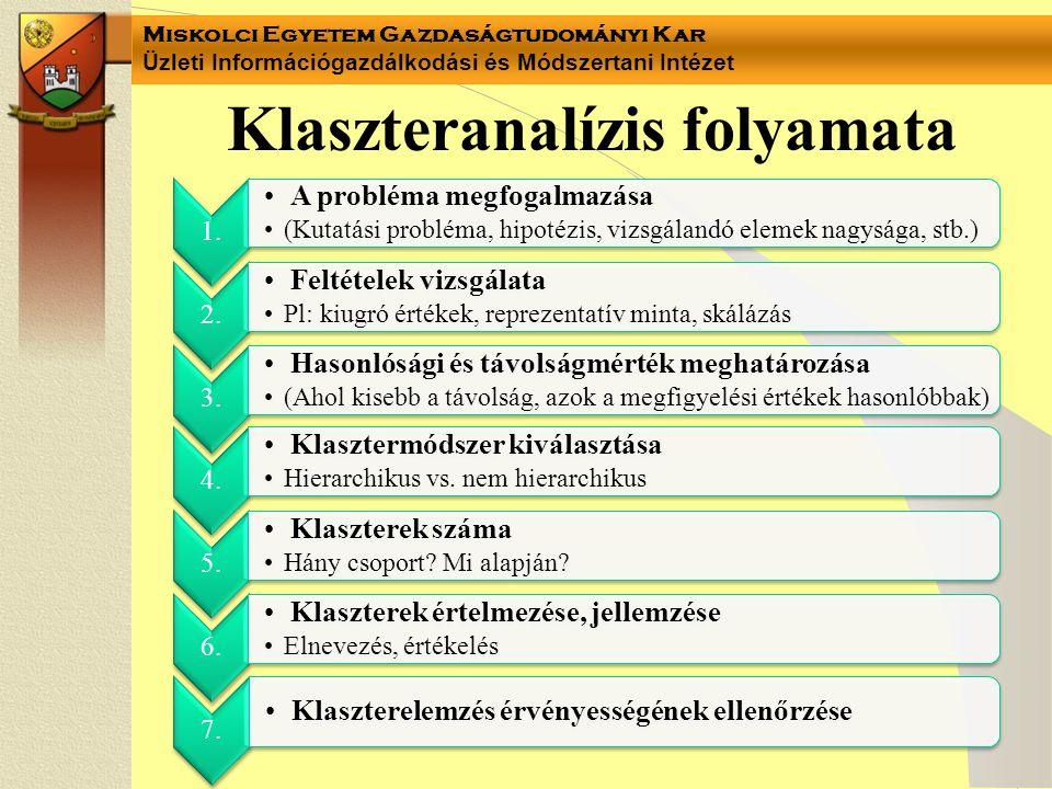 Miskolci Egyetem Gazdaságtudományi Kar Üzleti Információgazdálkodási és Módszertani Intézet Klaszteranalízis folyamata 1.