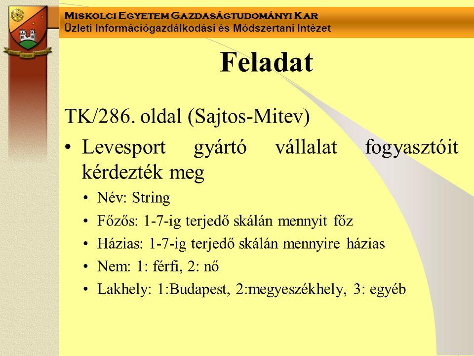 Miskolci Egyetem Gazdaságtudományi Kar Üzleti Információgazdálkodási és Módszertani Intézet Feladat TK/286.