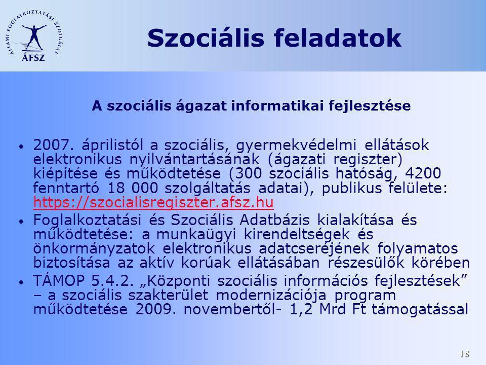 18 2007. áprilistól a szociális, gyermekvédelmi ellátások elektronikus nyilvántartásának (ágazati regiszter) kiépítése és működtetése (300 szociális h