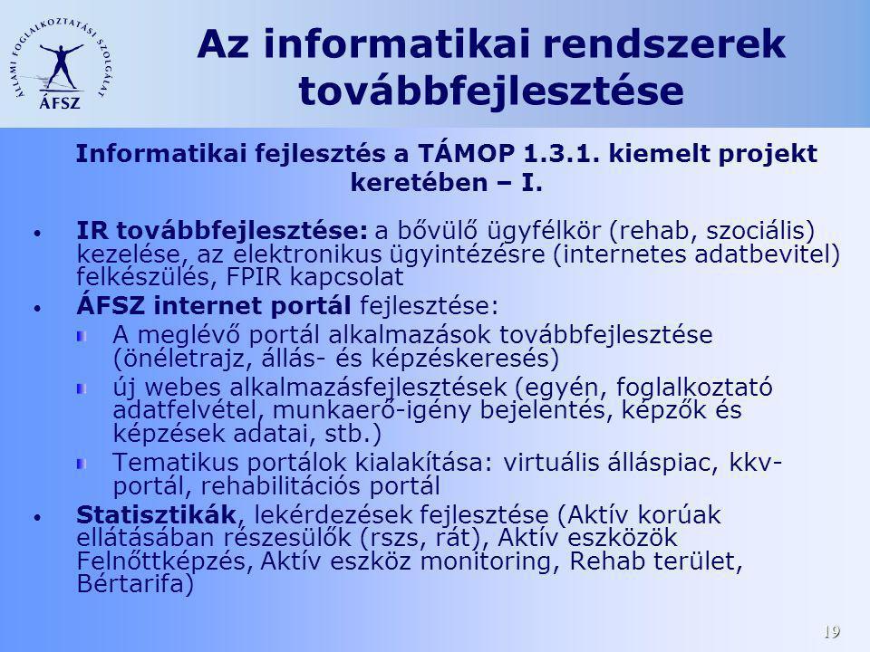 19 Az informatikai rendszerek továbbfejlesztése IR továbbfejlesztése: a bővülő ügyfélkör (rehab, szociális) kezelése, az elektronikus ügyintézésre (in