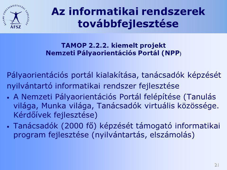 21 Pályaorientációs portál kialakítása, tanácsadók képzését nyilvántartó informatikai rendszer fejlesztése A Nemzeti Pályaorientációs Portál felépítés