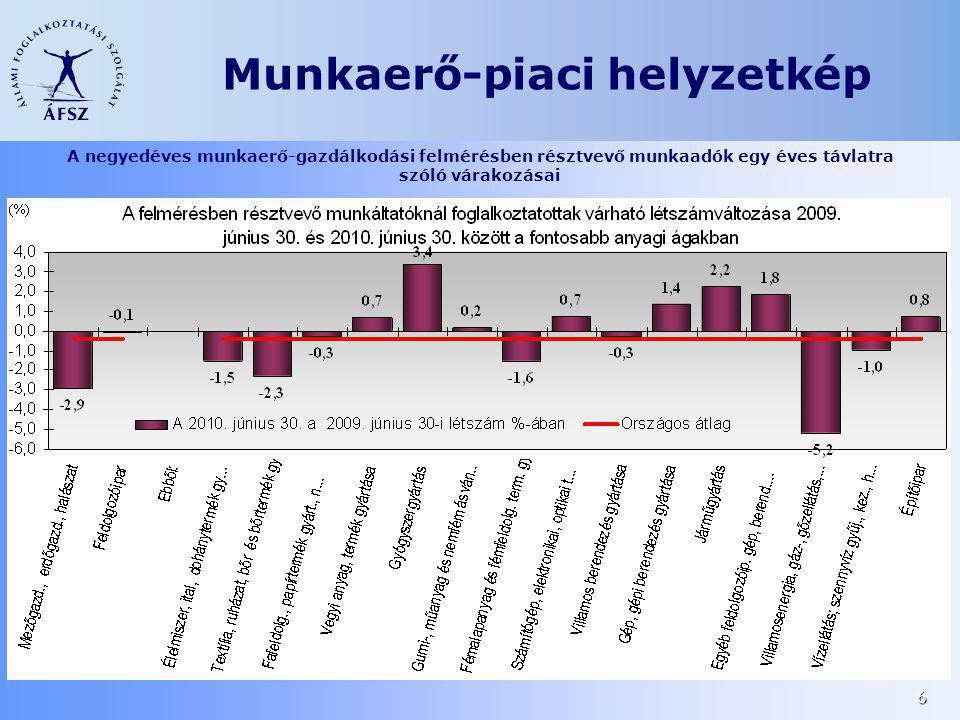6 A negyedéves munkaerő-gazdálkodási felmérésben résztvevő munkaadók egy éves távlatra szóló várakozásai Munkaerő-piaci helyzetkép