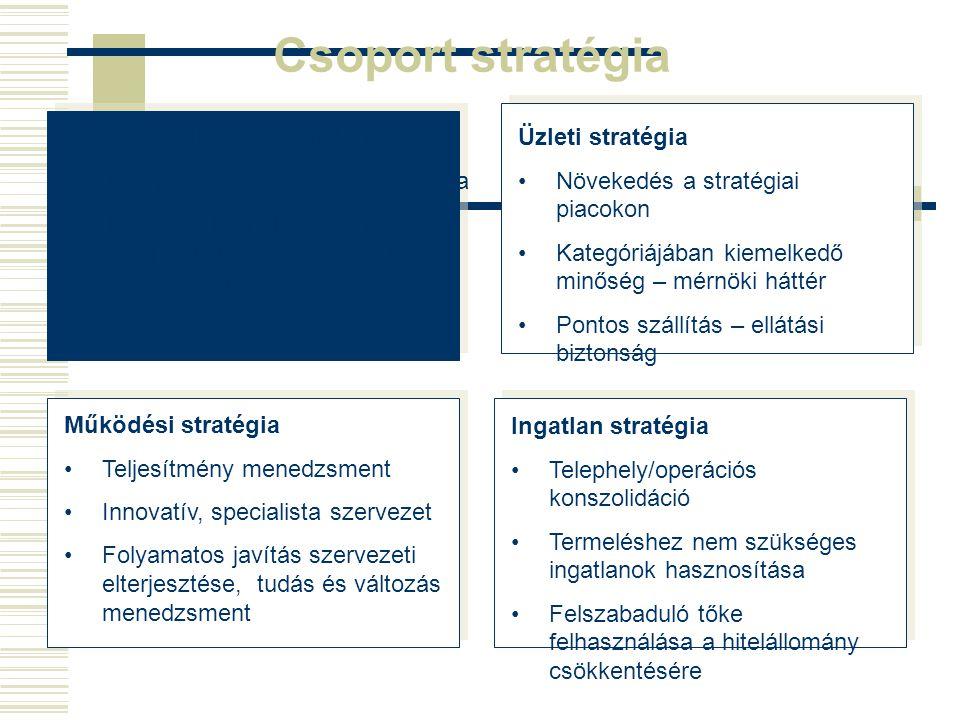 Csoport stratégia Csoport célja a cégérték növelése Üzemi és nettó eredmény javítása Készpénztermelés növelése Hitelállomány csökkentése Akvizíciók Ár