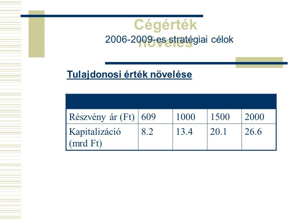 Cégérték növelés 2006-2009-es stratégiai célok Tulajdonosi érték növelése 2006200720082009 Részvény ár (Ft)609100015002000 Kapitalizáció (mrd Ft) 8.21