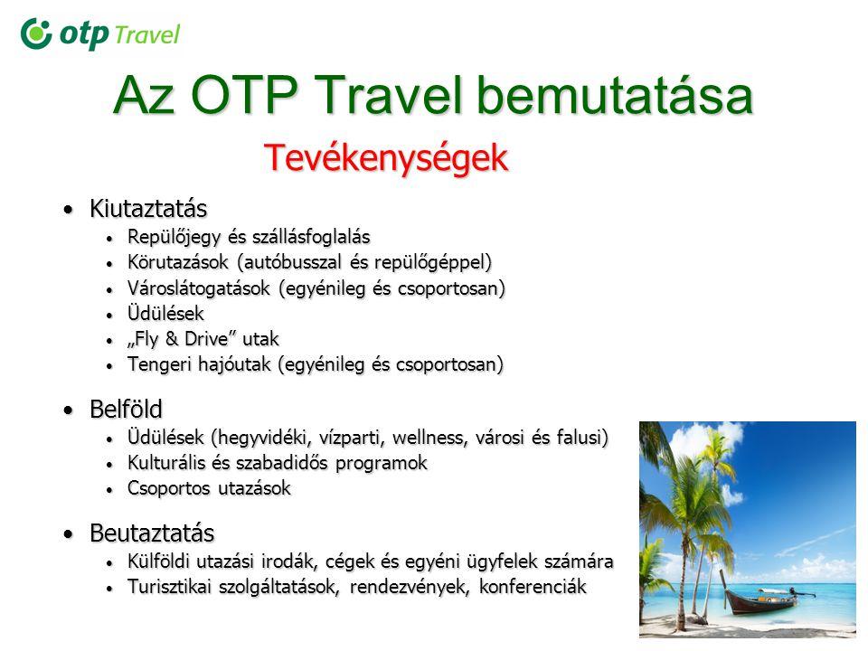 Az OTP Travel bemutatása Tevékenységek KiutaztatásKiutaztatás Repülőjegy és szállásfoglalás Repülőjegy és szállásfoglalás Körutazások (autóbusszal és
