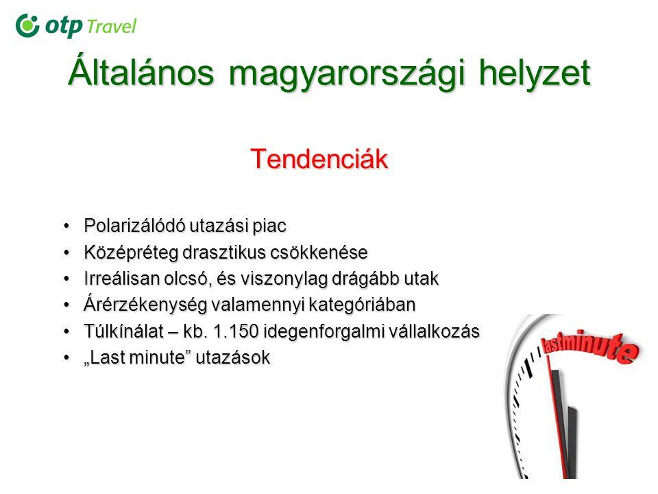 Általános magyarországi helyzet Tendenciák Polarizálódó utazási piacPolarizálódó utazási piac Középréteg drasztikus csökkenéseKözépréteg drasztikus cs