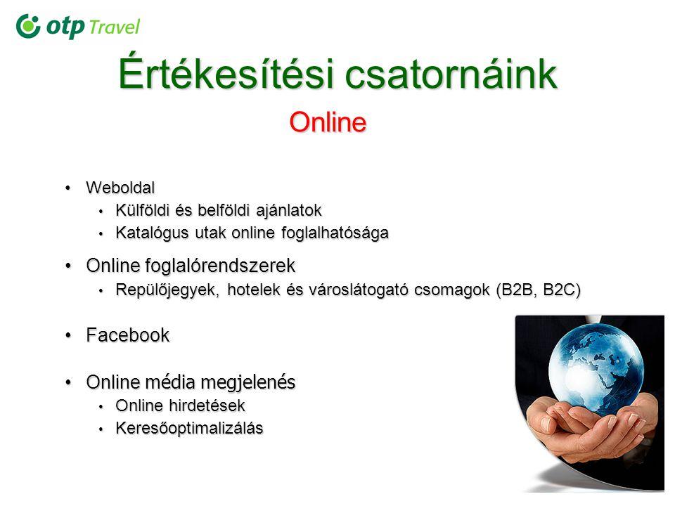 Értékesítési csatornáink Online WeboldalWeboldal Külföldi és belföldi ajánlatok Külföldi és belföldi ajánlatok Katalógus utak online foglalhatósága Ka