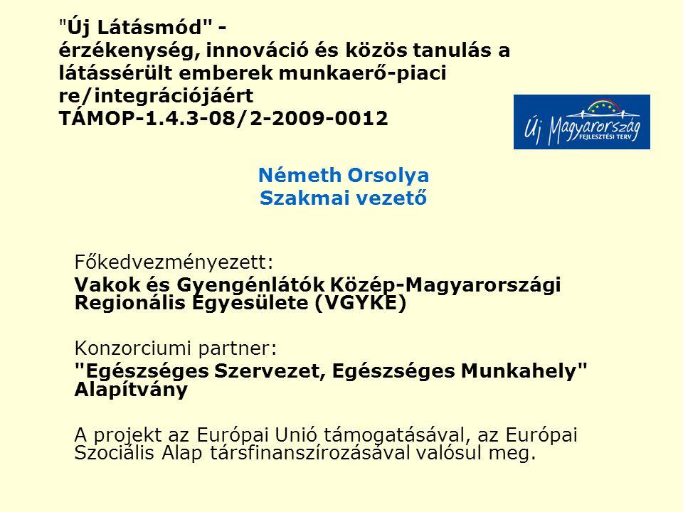 Új Látásmód - érzékenység, innováció és közös tanulás a látássérült emberek munkaerő-piaci re/integrációjáért TÁMOP-1.4.3-08/2-2009-0012 Németh Orsolya Szakmai vezető Főkedvezményezett: Vakok és Gyengénlátók Közép-Magyarországi Regionális Egyesülete (VGYKE) Konzorciumi partner: Egészséges Szervezet, Egészséges Munkahely Alapítvány A projekt az Európai Unió támogatásával, az Európai Szociális Alap társfinanszírozásával valósul meg.