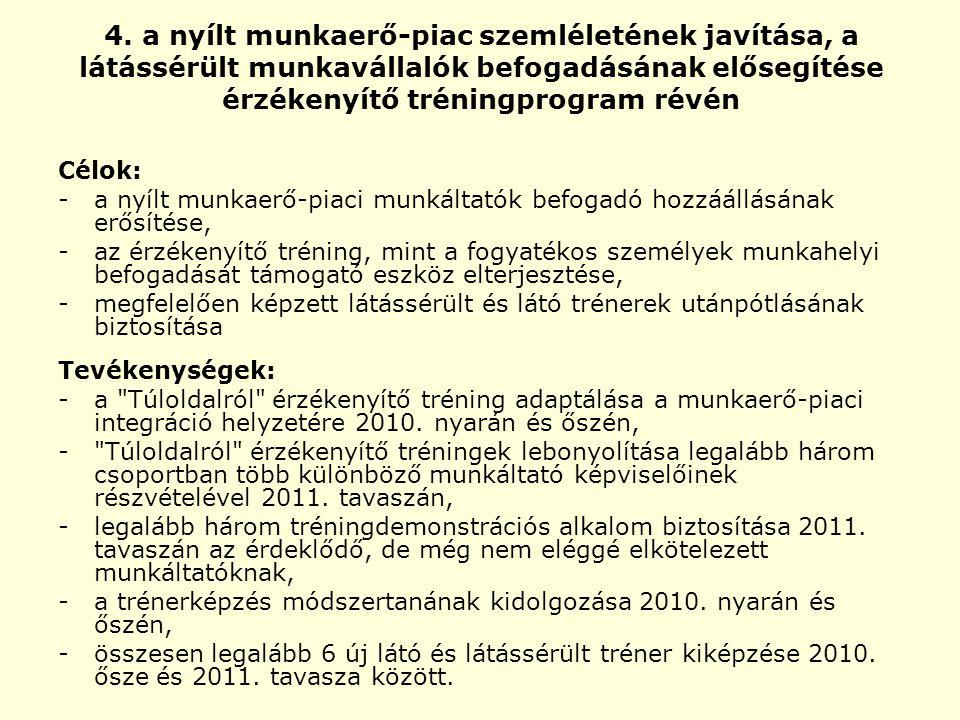 4. a nyílt munkaerő-piac szemléletének javítása, a látássérült munkavállalók befogadásának elősegítése érzékenyítő tréningprogram révén Célok: - a nyí