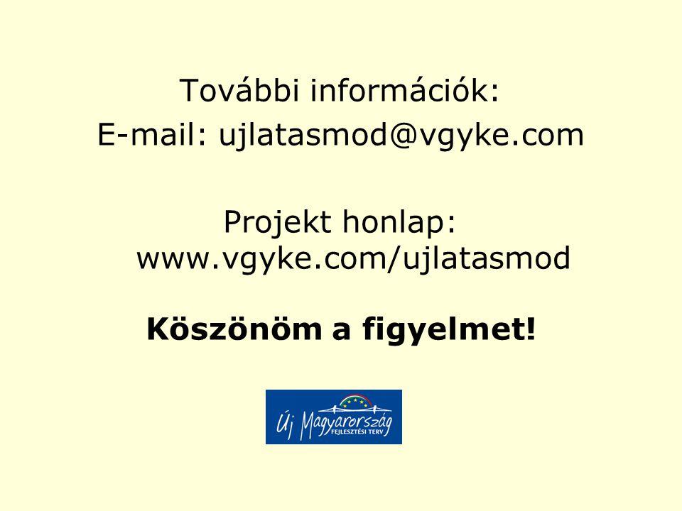 További információk: E-mail: ujlatasmod@vgyke.com Projekt honlap: www.vgyke.com/ujlatasmod Köszönöm a figyelmet!