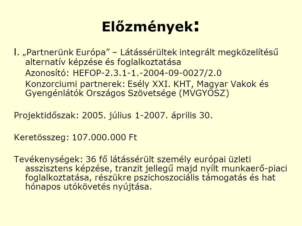 """Előzmények : I. """"Partnerünk Európa"""" – Látássérültek integrált megközelítésű alternatív képzése és foglalkoztatása Azonosító: HEFOP-2.3.1-1.-2004-09-00"""