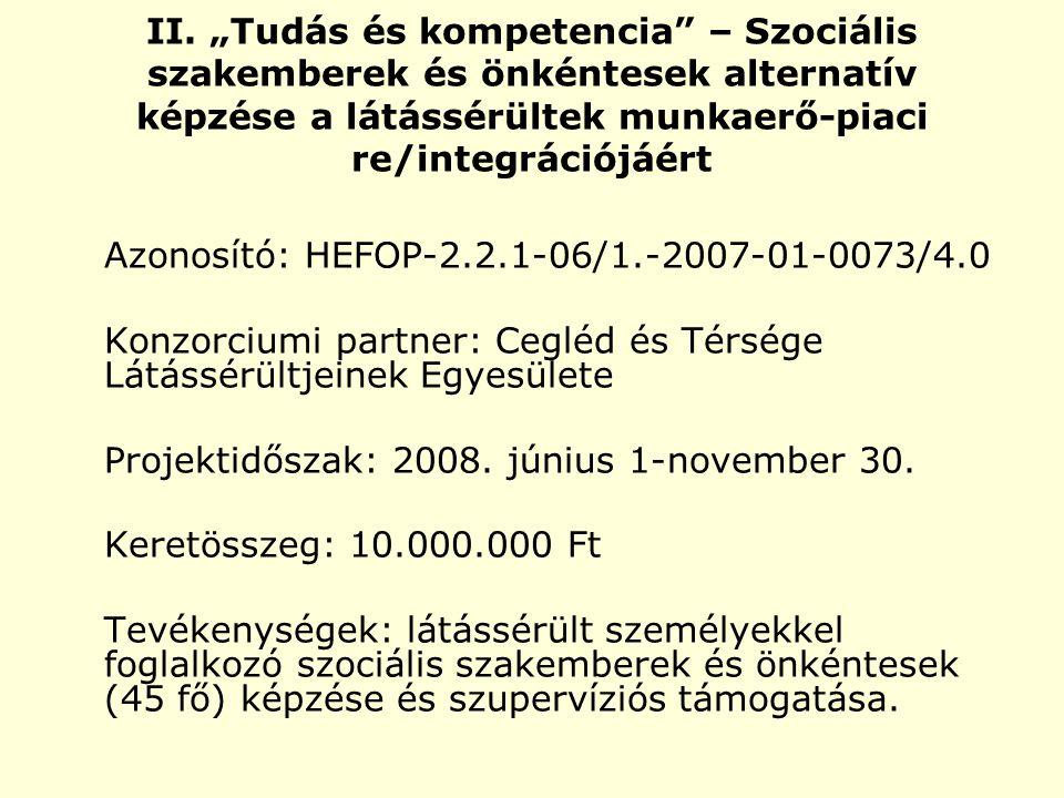 """II. """"Tudás és kompetencia"""" – Szociális szakemberek és önkéntesek alternatív képzése a látássérültek munkaerő-piaci re/integrációjáért Azonosító: HEFOP"""