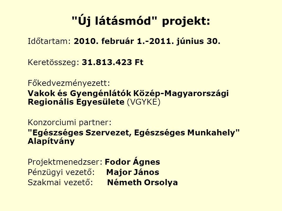 Új látásmód projekt: Időtartam: 2010. február 1.-2011.