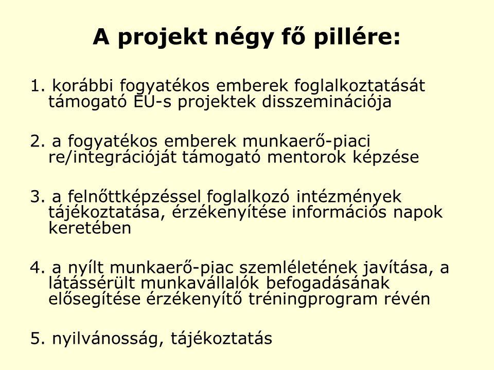 A projekt négy fő pillére: 1. korábbi fogyatékos emberek foglalkoztatását támogató EU-s projektek disszeminációja 2. a fogyatékos emberek munkaerő-pia