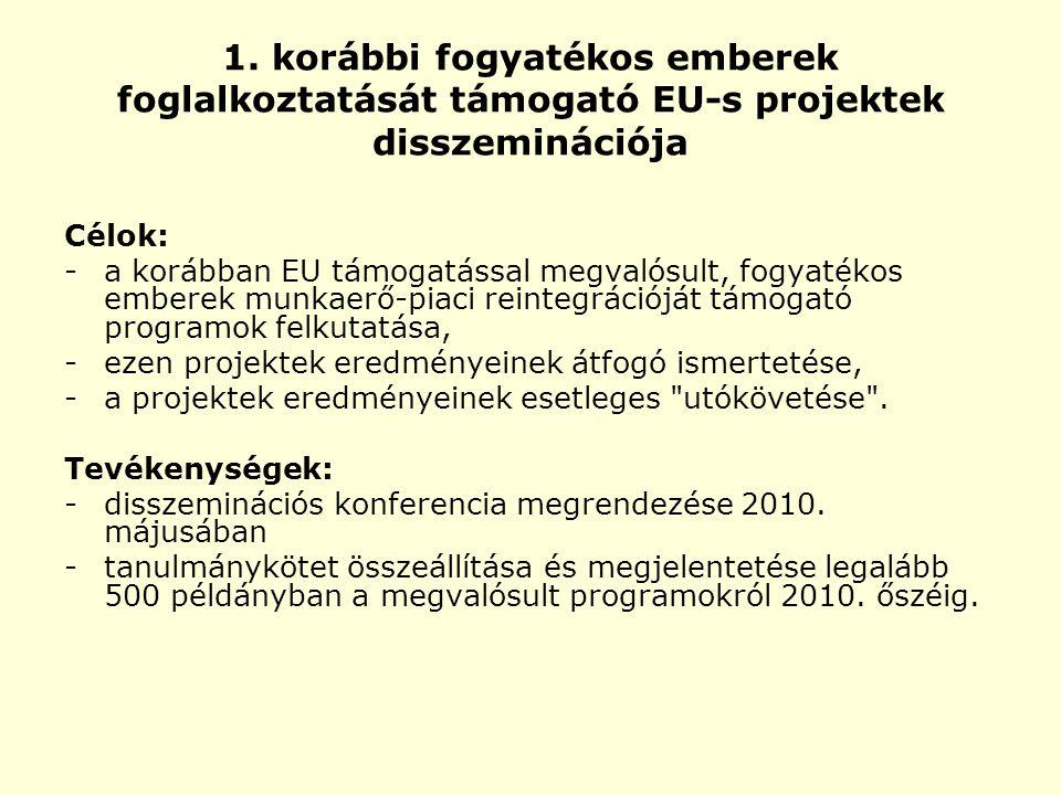 1. korábbi fogyatékos emberek foglalkoztatását támogató EU-s projektek disszeminációja Célok: - a korábban EU támogatással megvalósult, fogyatékos emb