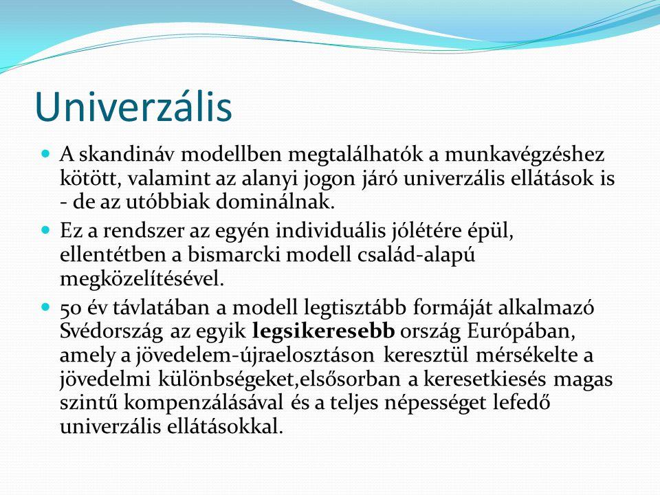 Univerzális A skandináv modellben megtalálhatók a munkavégzéshez kötött, valamint az alanyi jogon járó univerzális ellátások is - de az utóbbiak dominálnak.