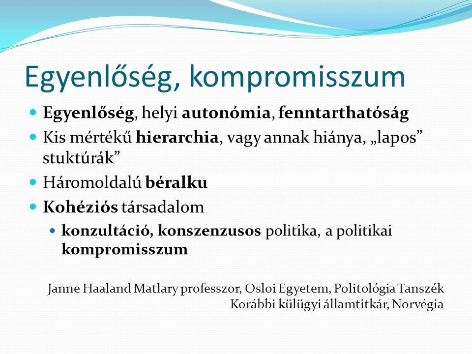 """Egyenlőség, kompromisszum Egyenlőség, helyi autonómia, fenntarthatóság Kis mértékű hierarchia, vagy annak hiánya, """"lapos stuktúrák Háromoldalú béralku Kohéziós társadalom konzultáció, konszenzusos politika, a politikai kompromisszum Janne Haaland Matlary professzor, Osloi Egyetem, Politológia Tanszék Korábbi külügyi államtitkár, Norvégia"""