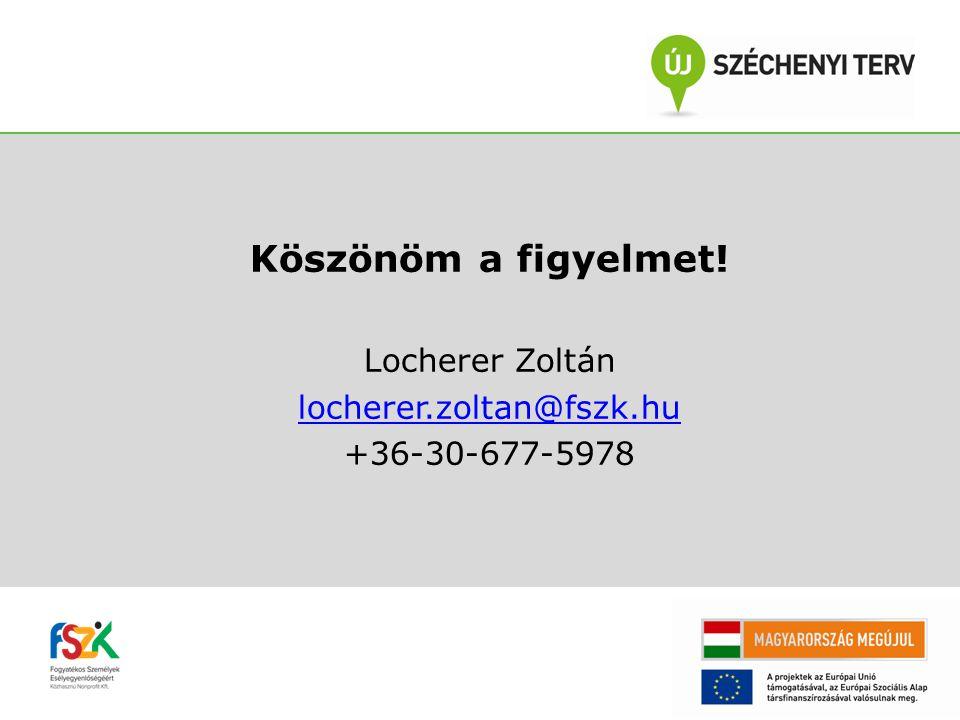 Köszönöm a figyelmet! Locherer Zoltán locherer.zoltan@fszk.hu +36-30-677-5978