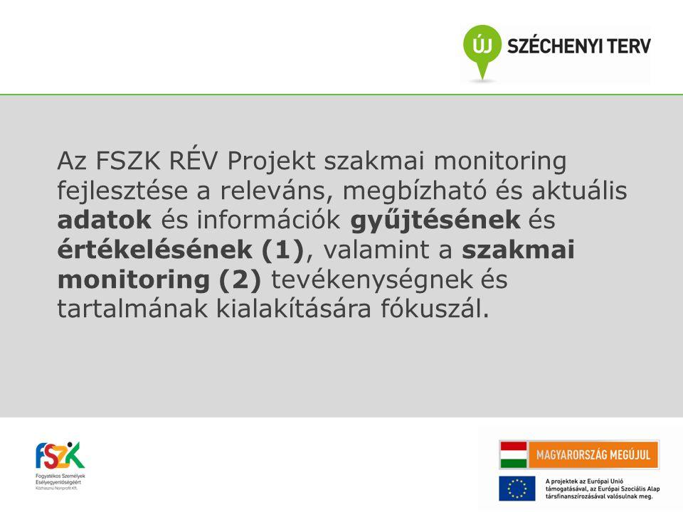Az FSZK RÉV Projekt szakmai monitoring fejlesztése a releváns, megbízható és aktuális adatok és információk gyűjtésének és értékelésének (1), valamint a szakmai monitoring (2) tevékenységnek és tartalmának kialakítására fókuszál.