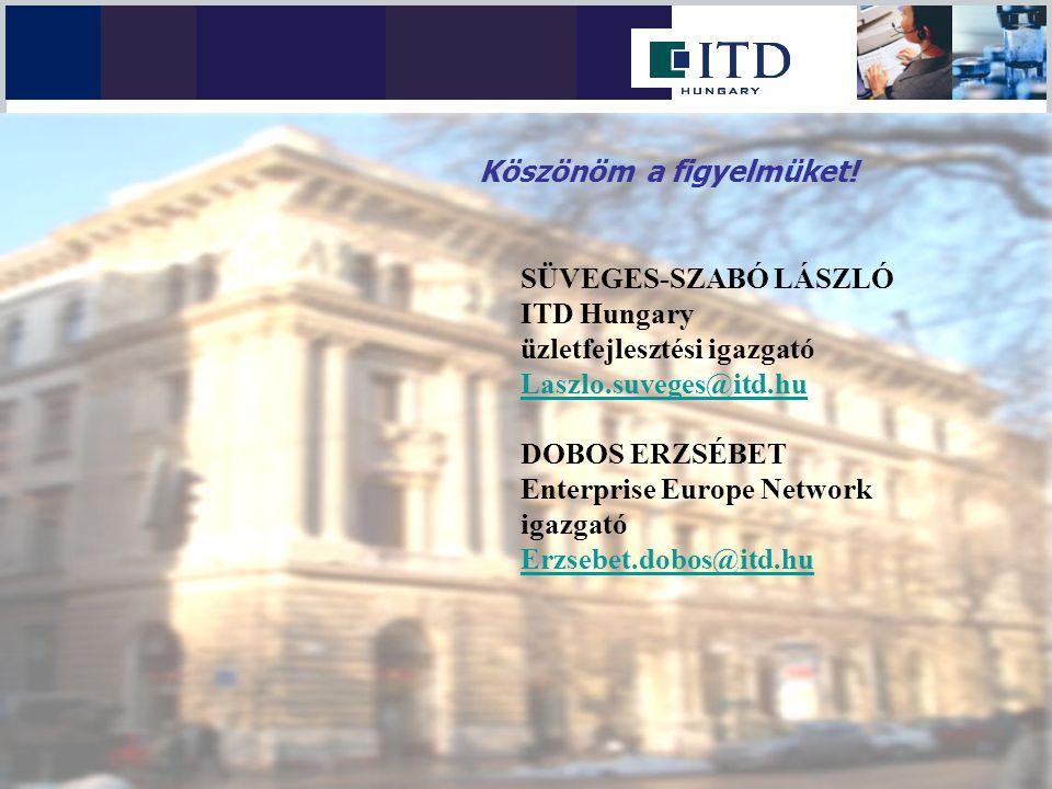 SÜVEGES-SZABÓ LÁSZLÓ ITD Hungary üzletfejlesztési igazgató Laszlo.suveges@itd.hu DOBOS ERZSÉBET Enterprise Europe Network igazgató Erzsebet.dobos@itd.