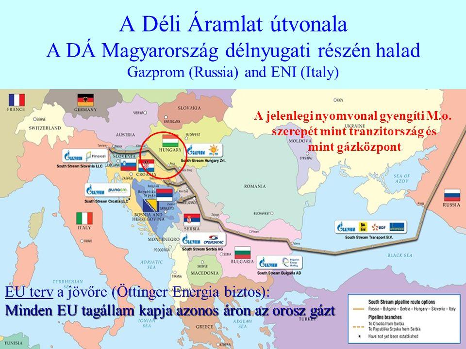 A Déli Áramlat útvonala A DÁ Magyarország délnyugati részén halad Gazprom (Russia) and ENI (Italy) A jelenlegi nyomvonal gyengíti M.o. szerepét mint t