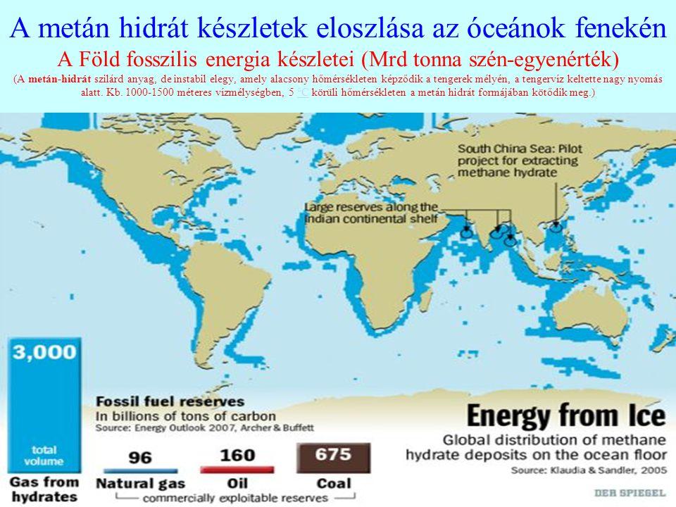 A metán hidrát készletek eloszlása az óceánok fenekén A Föld fosszilis energia készletei (Mrd tonna szén-egyenérték) (A metán-hidrát szilárd anyag, de