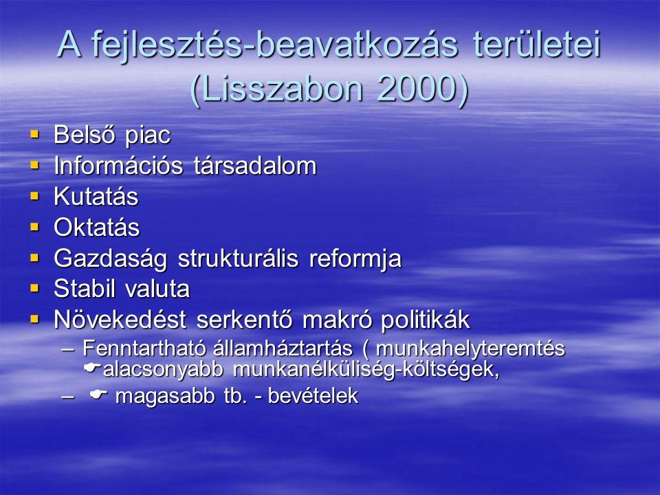A fejlesztés-beavatkozás területei (Lisszabon 2000)  Belső piac  Információs társadalom  Kutatás  Oktatás  Gazdaság strukturális reformja  Stabil valuta  Növekedést serkentő makró politikák –Fenntartható államháztartás ( munkahelyteremtés  alacsonyabb munkanélküliség-költségek, –  magasabb tb.