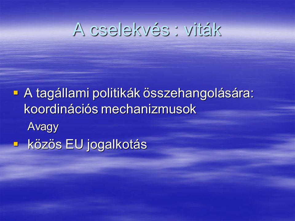 A cselekvés : viták  A tagállami politikák összehangolására: koordinációs mechanizmusok Avagy  közös EU jogalkotás