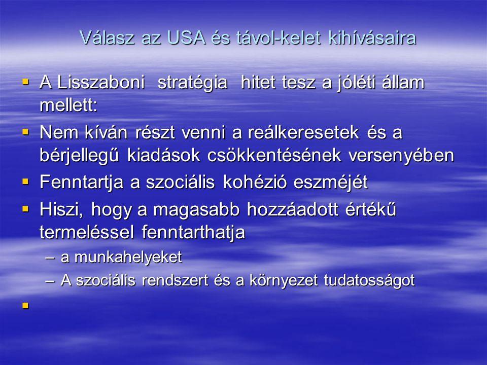 Válasz az USA és távol-kelet kihívásaira  A Lisszaboni stratégia hitet tesz a jóléti állam mellett:  Nem kíván részt venni a reálkeresetek és a bérjellegű kiadások csökkentésének versenyében  Fenntartja a szociális kohézió eszméjét  Hiszi, hogy a magasabb hozzáadott értékű termeléssel fenntarthatja –a munkahelyeket –A szociális rendszert és a környezet tudatosságot 