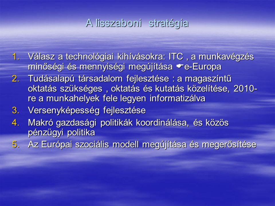 A lisszaboni stratégia 1.Válasz a technológiai kihívásokra: ITC, a munkavégzés minőségi és mennyiségi megújítása  e-Europa 2.Tudásalapú társadalom fejlesztése : a magaszíntű oktatás szükséges, oktatás és kutatás közelítése, 2010- re a munkahelyek fele legyen informatizálva 3.Versenyképesség fejlesztése 4.Makró gazdasági politikák koordinálása, és közös pénzügyi politika 5.Az Európai szociális modell megújítása és megerősítése