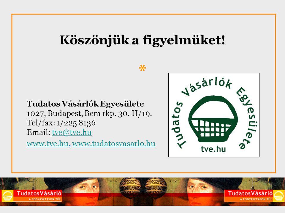 Köszönjük a figyelmüket. * Tudatos Vásárlók Egyesülete 1027, Budapest, Bem rkp.