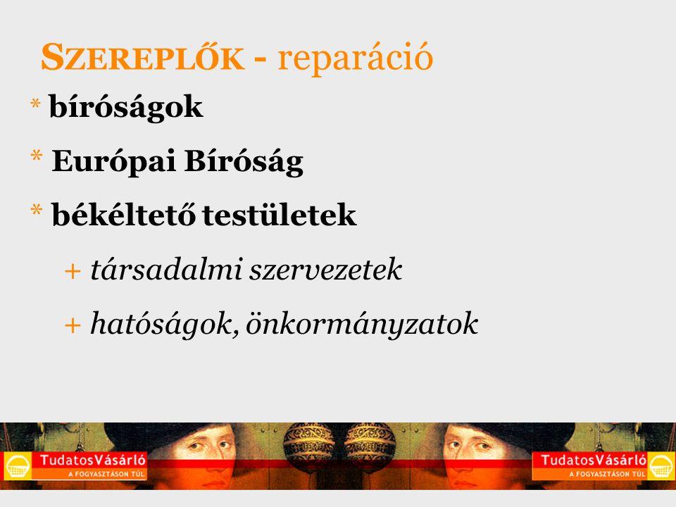 S ZEREPLŐK - reparáció * bíróságok * Európai Bíróság * békéltető testületek + társadalmi szervezetek + hatóságok, önkormányzatok