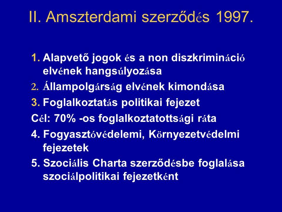 II. Amszterdami szerződ é s 1997. 1.Alapvető jogok é s a non diszkrimin á ci ó elv é nek hangs ú lyoz á sa 2.Á llampolg á rs á g elv é nek kimond á sa