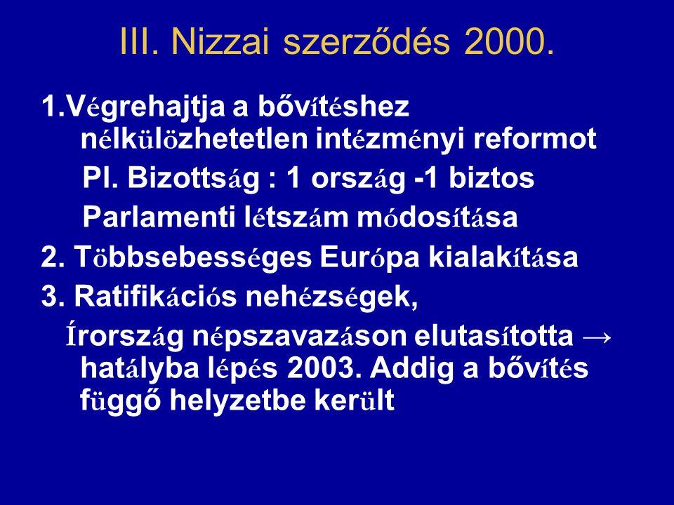 III. Nizzai szerződés 2000. 1.V é grehajtja a bőv í t é shez n é lk ü l ö zhetetlen int é zm é nyi reformot Pl. Bizotts á g : 1 orsz á g -1 biztos Par