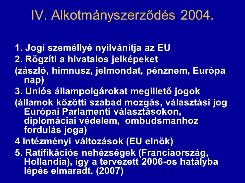 IV. Alkotmányszerződés 2004. 1. Jogi személlyé nyilvánítja az EU 2. Rögzíti a hivatalos jelképeket (zászló, himnusz, jelmondat, pénznem, Európa nap) 3