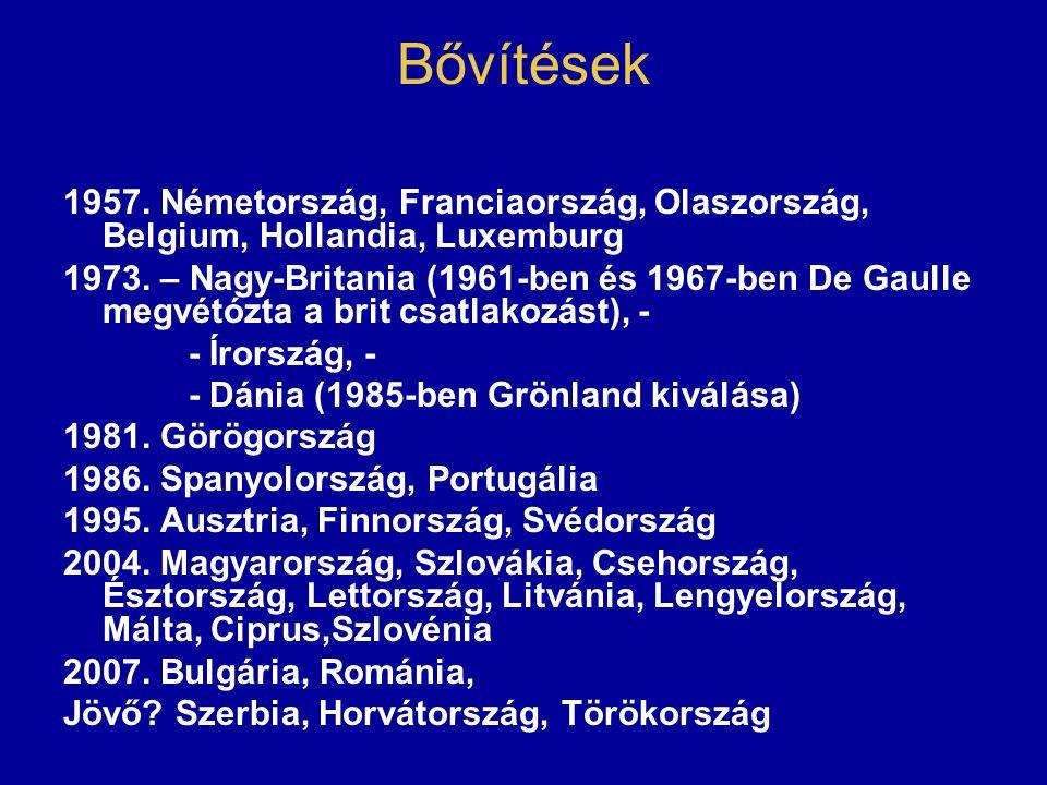 Bővítések 1957. Németország, Franciaország, Olaszország, Belgium, Hollandia, Luxemburg 1973. – Nagy-Britania (1961-ben és 1967-ben De Gaulle megvétózt
