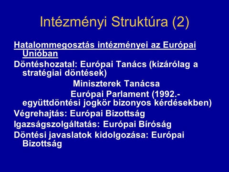 Intézményi Struktúra (2) Hatalommegosztás intézményei az Európai Unióban Döntéshozatal: Európai Tanács (kizárólag a stratégiai döntések) Miniszterek Tanácsa Európai Parlament (1992.- együttdöntési jogkör bizonyos kérdésekben) Végrehajtás: Európai Bizottság Igazságszolgáltatás: Európai Bíróság Döntési javaslatok kidolgozása: Európai Bizottság