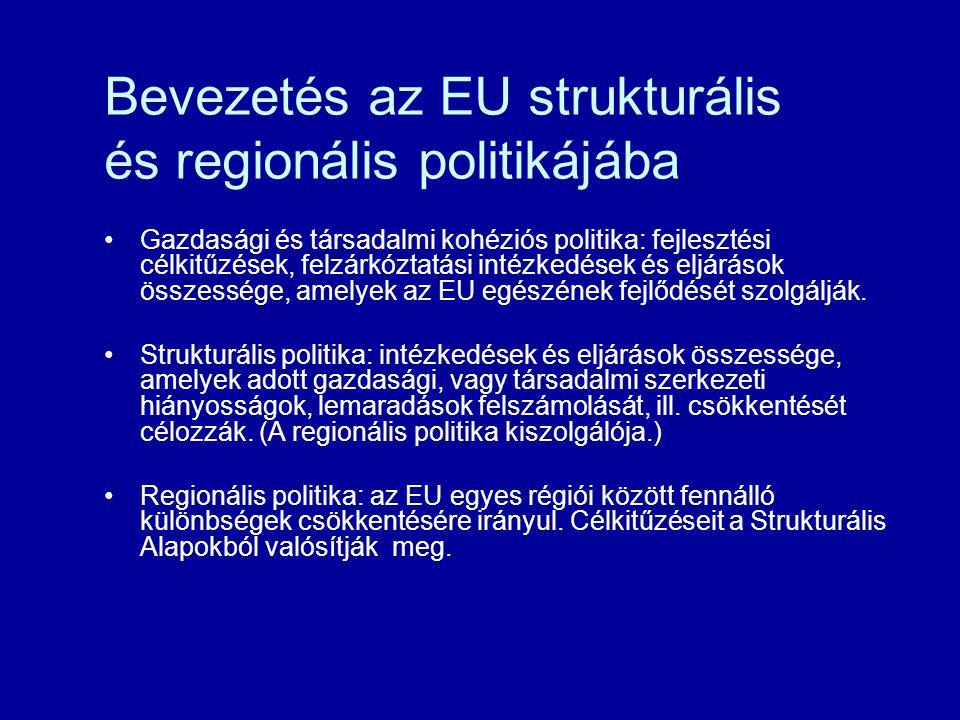 Bevezetés az EU strukturális és regionális politikájába Gazdasági és társadalmi kohéziós politika: fejlesztési célkitűzések, felzárkóztatási intézkedések és eljárások összessége, amelyek az EU egészének fejlődését szolgálják.