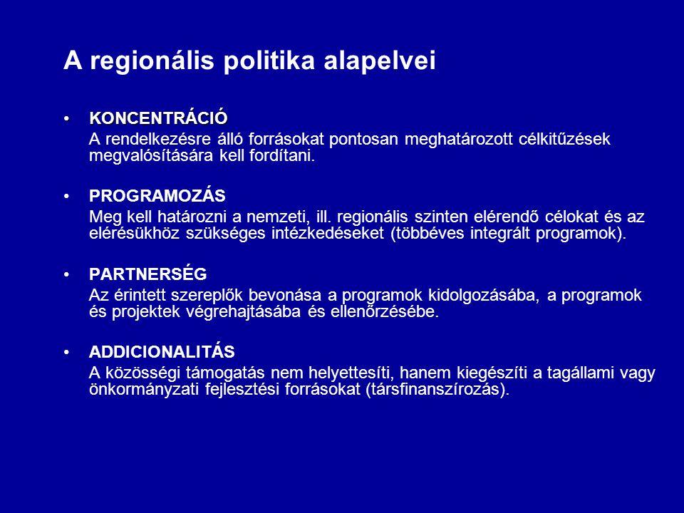 A regionális politika alapelvei KONCENTRÁCIÓKONCENTRÁCIÓ A rendelkezésre álló forrásokat pontosan meghatározott célkitűzések megvalósítására kell fordítani.