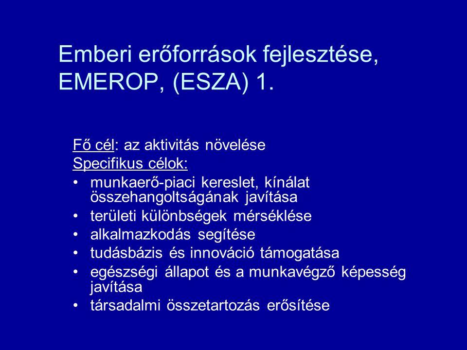 Emberi erőforrások fejlesztése, EMEROP, (ESZA) 1. Fő cél: az aktivitás növelése Specifikus célok: munkaerő-piaci kereslet, kínálat összehangoltságának