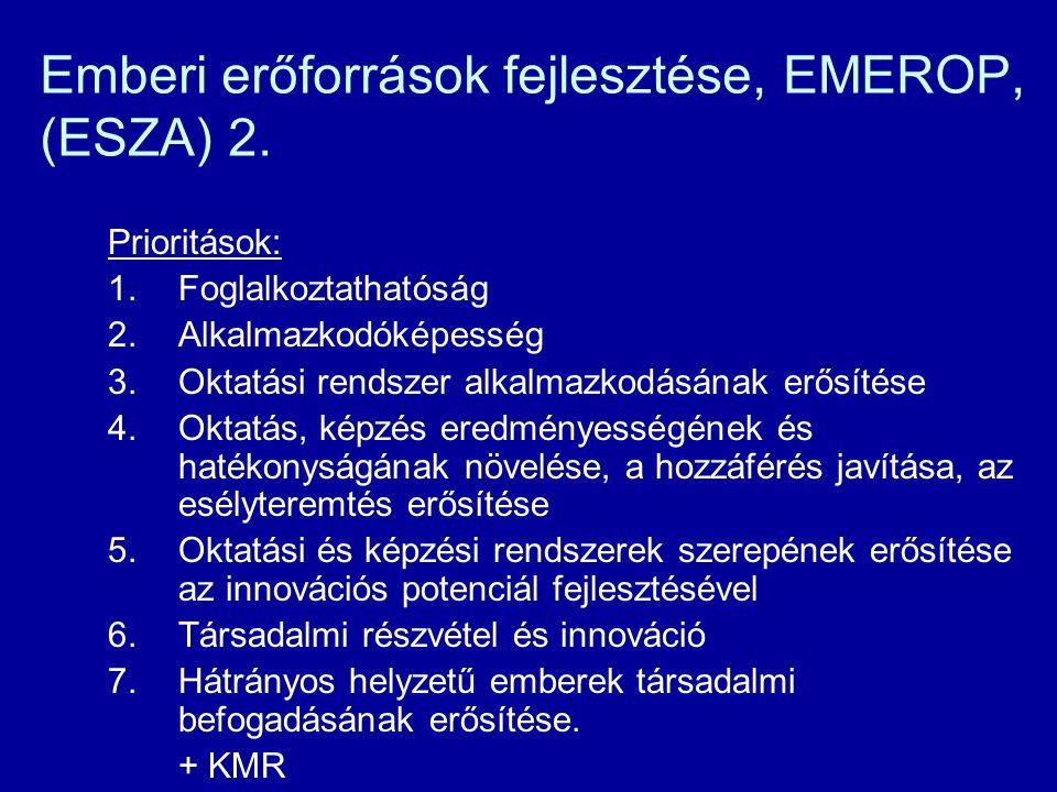 Emberi erőforrások fejlesztése, EMEROP, (ESZA) 2. Prioritások: 1.Foglalkoztathatóság 2.Alkalmazkodóképesség 3.Oktatási rendszer alkalmazkodásának erős