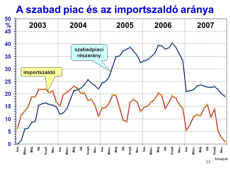 13 importszaldó 2003 2004 2005 2006 2007 hónapok szabadpiaci részarány A szabad piac és az importszaldó aránya