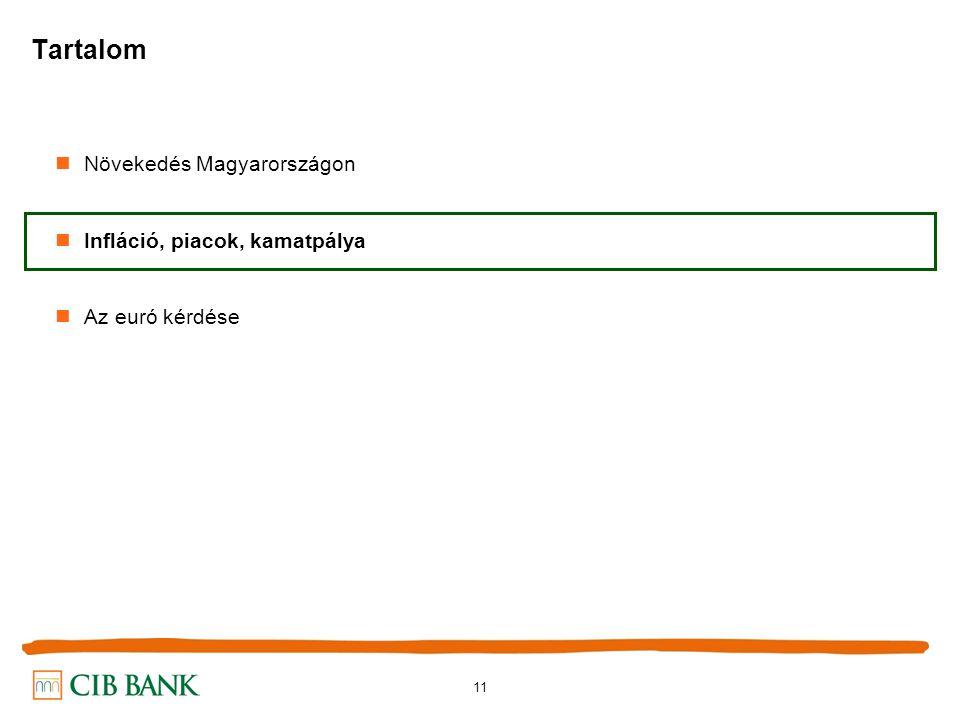 11 Növekedés Magyarországon Infláció, piacok, kamatpálya Az euró kérdése Tartalom