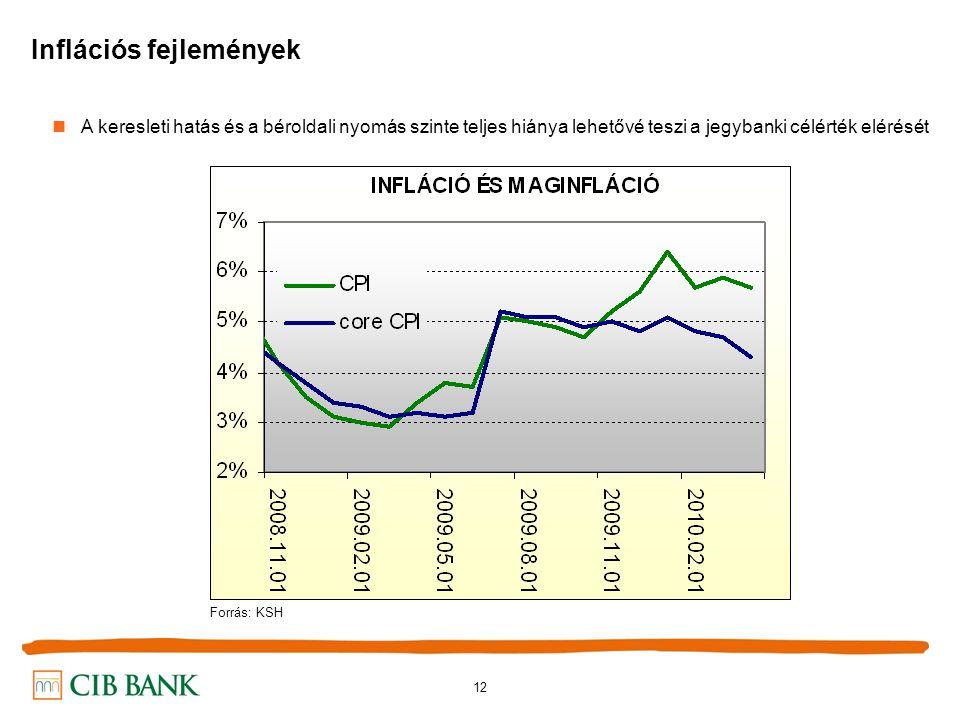 12 Inflációs fejlemények A keresleti hatás és a béroldali nyomás szinte teljes hiánya lehetővé teszi a jegybanki célérték elérését Forrás: KSH