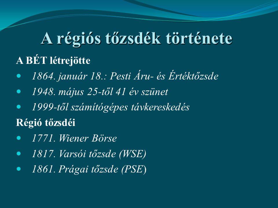 A régiós tőzsdék története A BÉT létrejötte 1864. január 18.: Pesti Áru- és Értéktőzsde 1948. május 25-től 41 év szünet 1999-től számítógépes távkeres